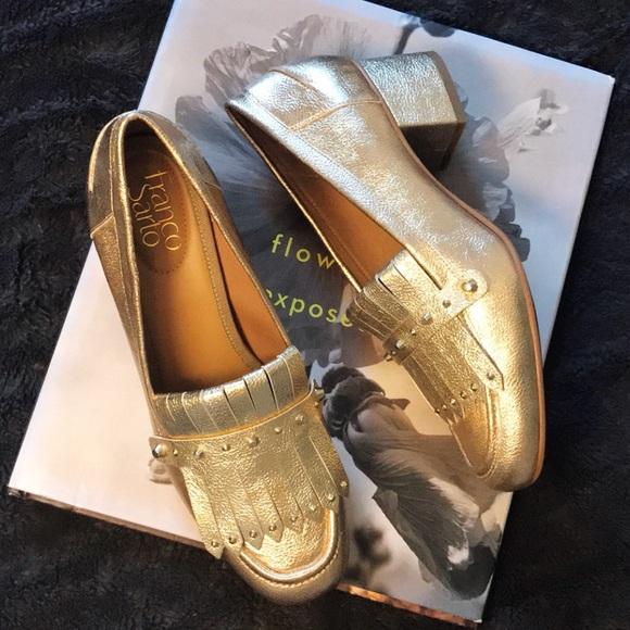 "c9252219feb Franco Sarto Shoes - FRANCO SARTO gold ""Lauryn"" heeled loafers."